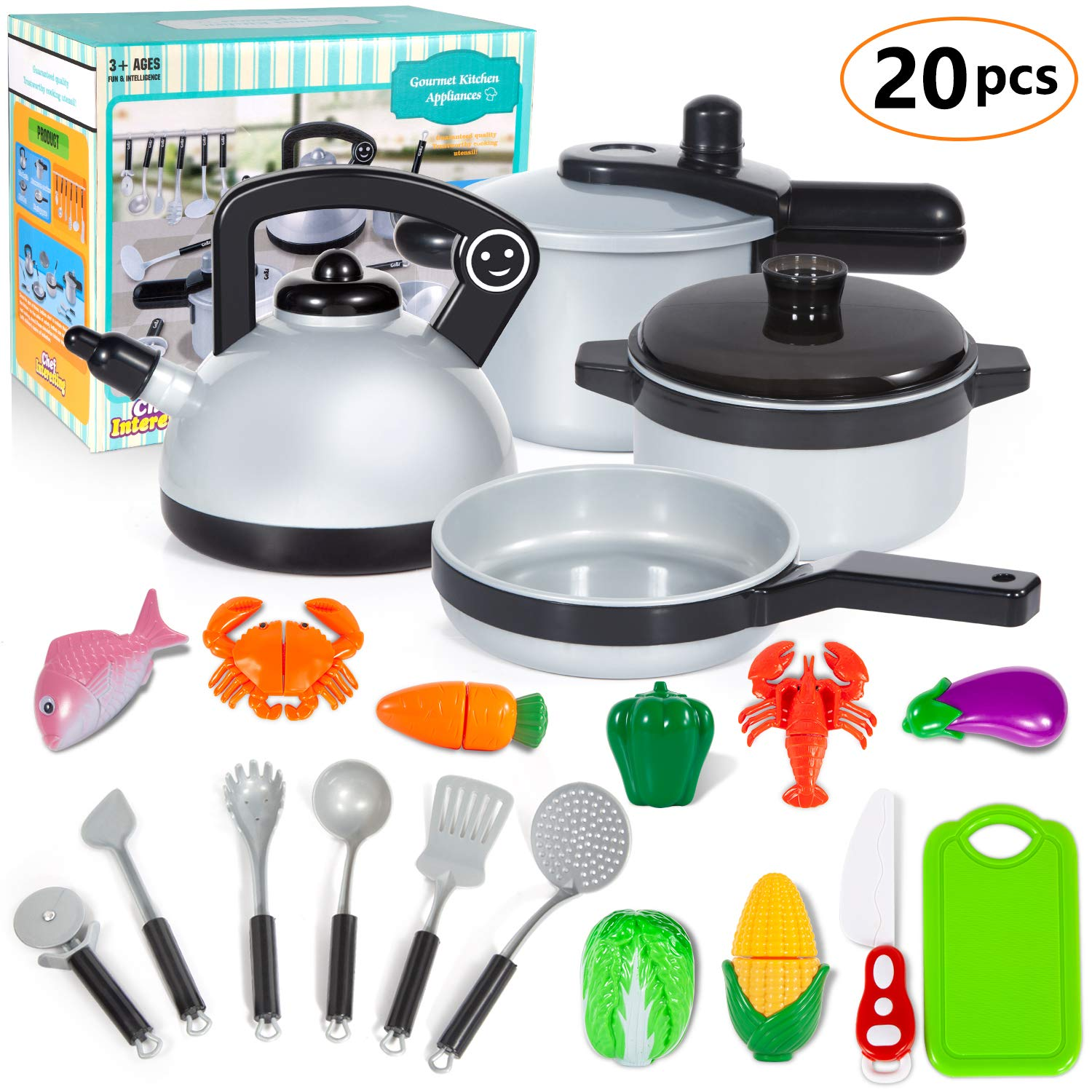 KINFAYV Pretend Play Kitchen Cooking Toy Set - Pretend & Play Cooking Set, Pots and Pans, Cookware Playset, Utensils Toys, Early Age Development Learning Toy Gift for 3 Up Years Old