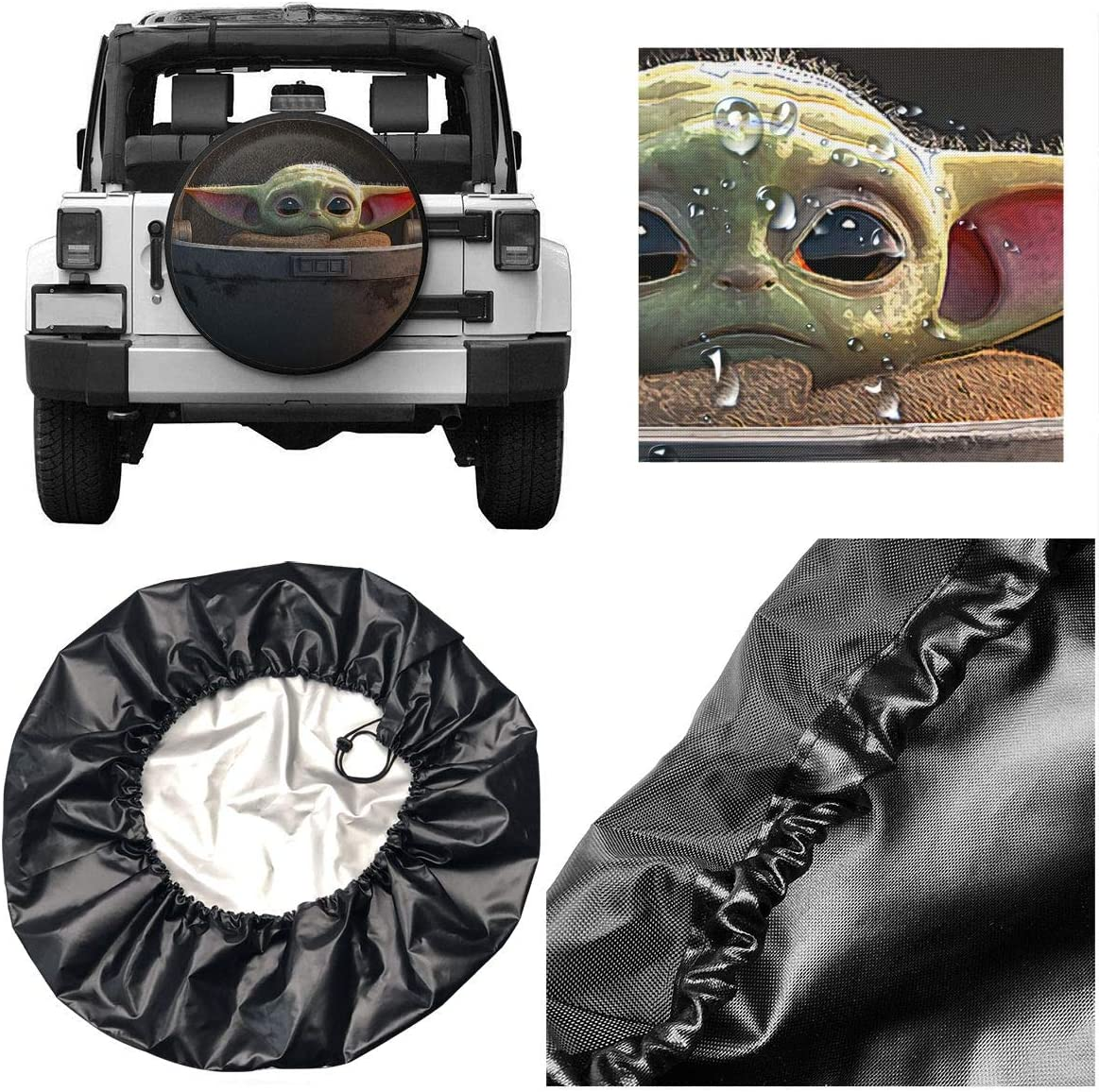 C-CASE Ba-by Y-oda Spare Tire Cover Polyester Universal Waterproof Sunscreen Wheel Covers for Jeep Trailer RV SUV Truck and Many Vehicles 14 Inch