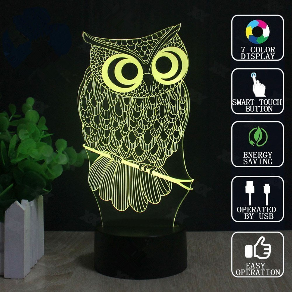 Owl 3D Illusion Lamp, Elstey 7 Color Changing Touch Table Desk LED Night Light Great Kids Gifts Home Decoration by Elstey (Image #8)