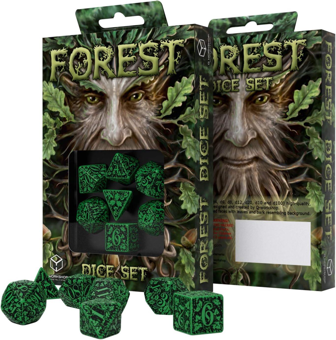 Q Workshop Forest 3D Dice Set PSI Green//Black Publisher Services Inc SFOR15QWP