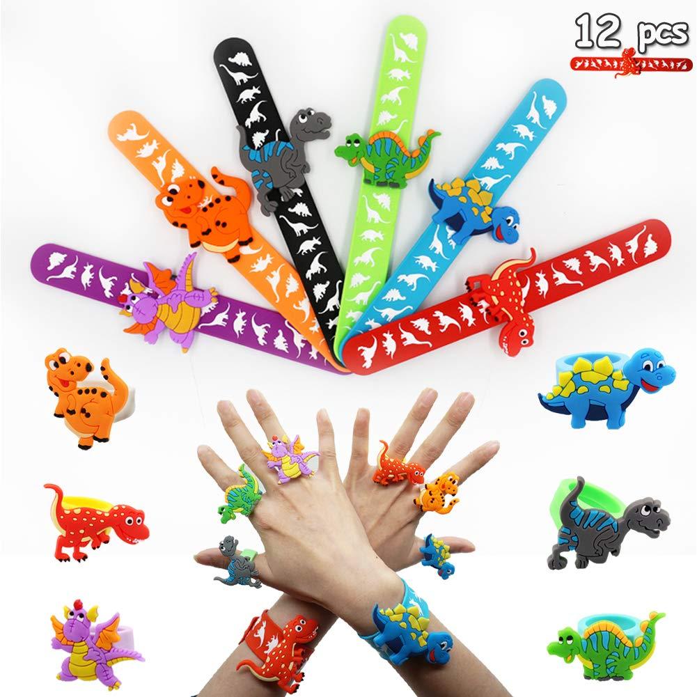Dinosaur Slap Bands and Dinosaur Ring, Animal Slap Bracelets for Kids Dinosaur Party Supplies 12pcs