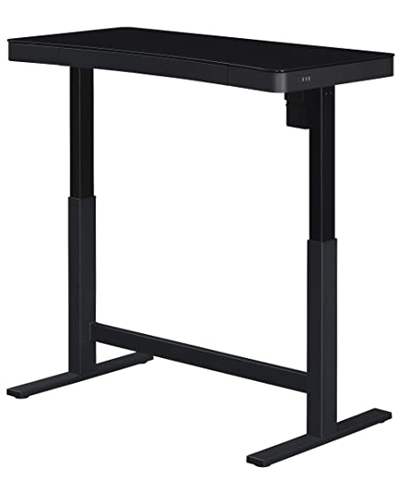 best sneakers 367ec fc231 Bell'O Electric Adjustable Height Standing Desk - Programmable Presets with  3 USB Ports & Glass Top, Black
