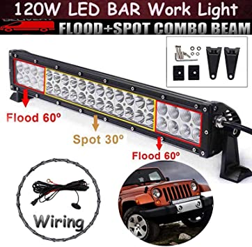 Auto Driving Led Bar Light 120w Off Road Spot Flood Combo Beam Lamp Waterproof 12v 24v Wiring Harness For Car Truck Atu Suv Tractor 4x4wd Amazon Co Uk Car Motorbike