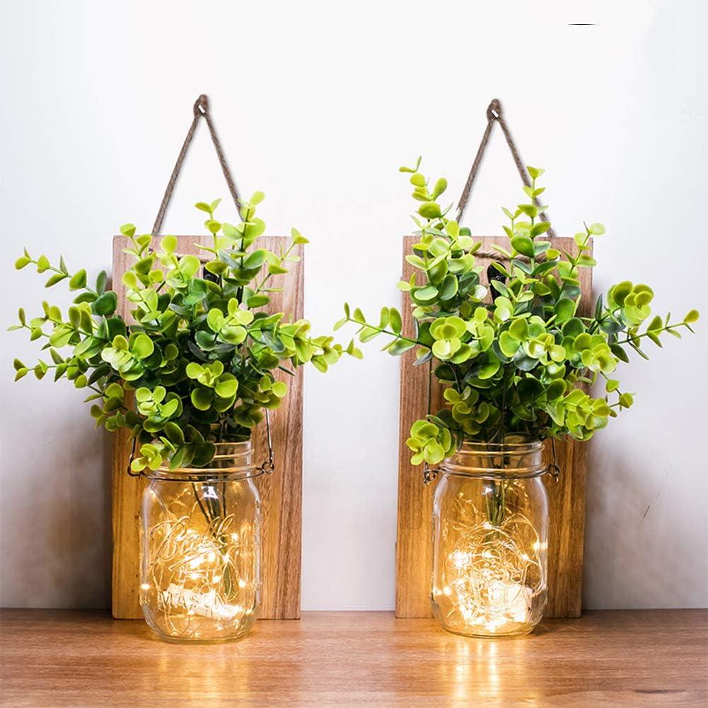 Tarro de masón lámpara de pared, Aplique de madera rústico, diseño de luces,Planta verde falsa, tira LED para decoración del hogar (2 Paquete)