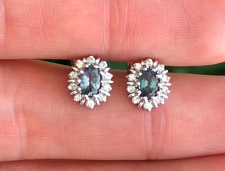 Amazon.com: Natural Alexandrite Diamond Halo Studs Earrings Color ...