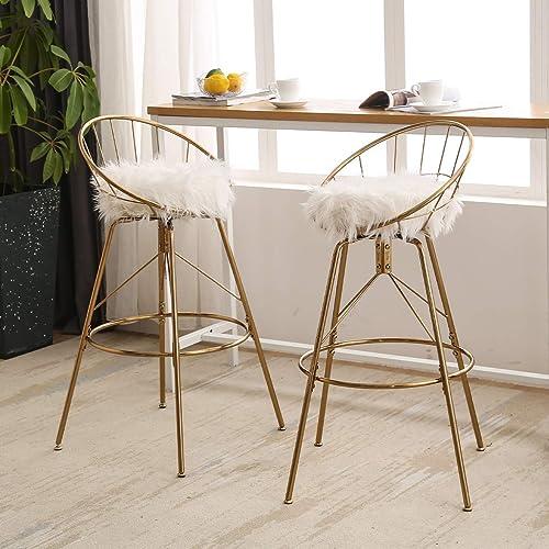 AKLAUS Swivel Bar Stools Gold Bar Chairs White Fur Metal Counter Stool