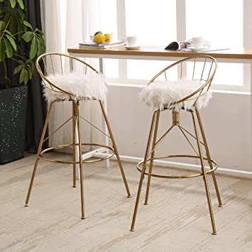 White Modern Desk Chair, Amazon Com Aklaus Swivel Bar Stools 26 Inch Counter Stools With Backs Counter Height Barstools White Fur Bar Chairs Gold Bar Stools Set Of 2 Kitchen Dining