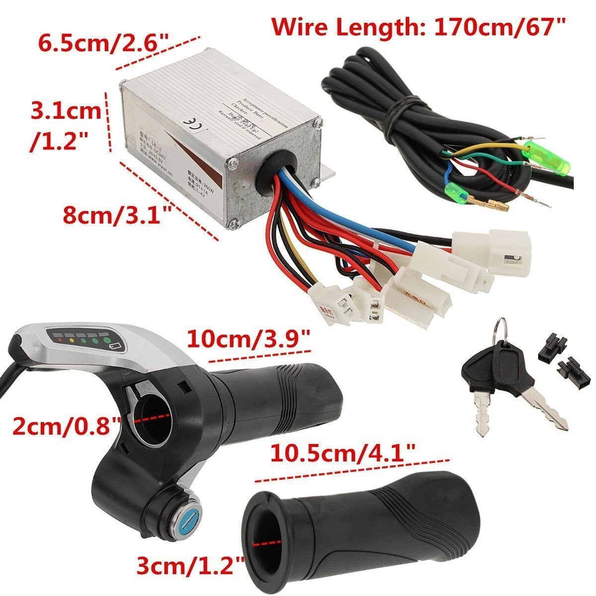 24V 500W Motor Brush Speed Controller& Electric Bike Scooter Throttle Twist Grip by scooter (Image #3)