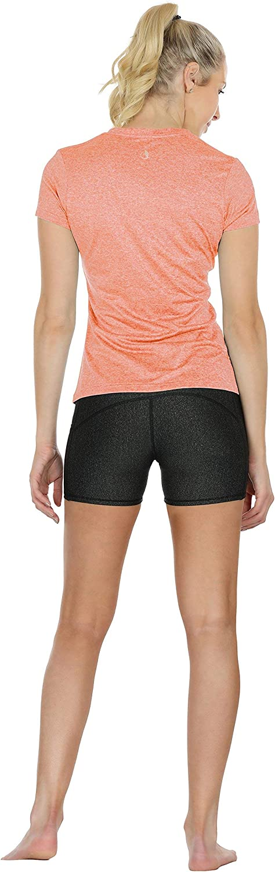 Paquet de 3 icyzone T-Shirts de Sport Femme /à Manche Courtes Tops et col en V Fitness Yoga Tee