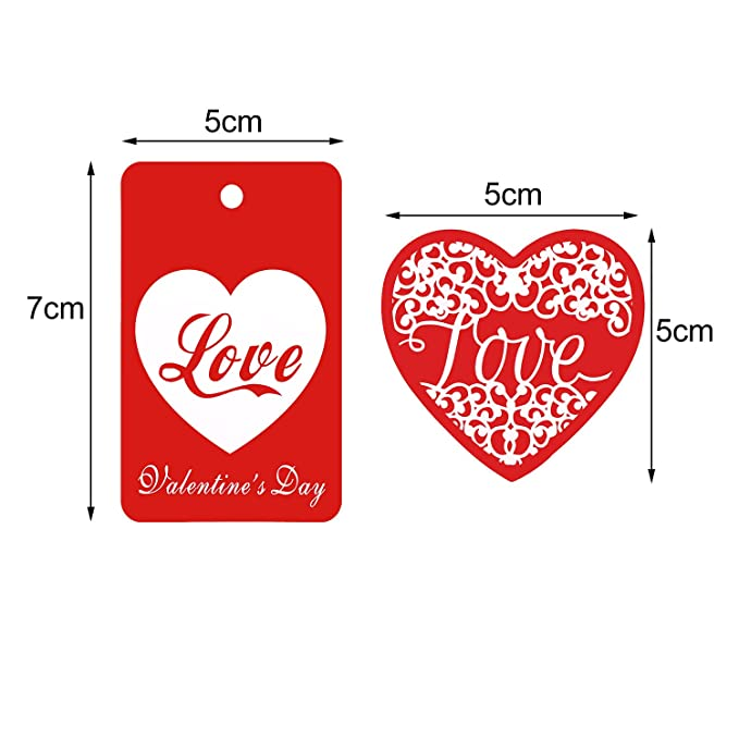 D Zhanmai 200 Pieces Red Valentines Tags Paper Gift Tags Hang Labels with 65.6 ft Twines for Valentines Day Decoration