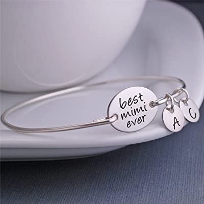 Best Mimi Ever Personalized Bangle Bracelet, Mother's Day Gift for Mimi