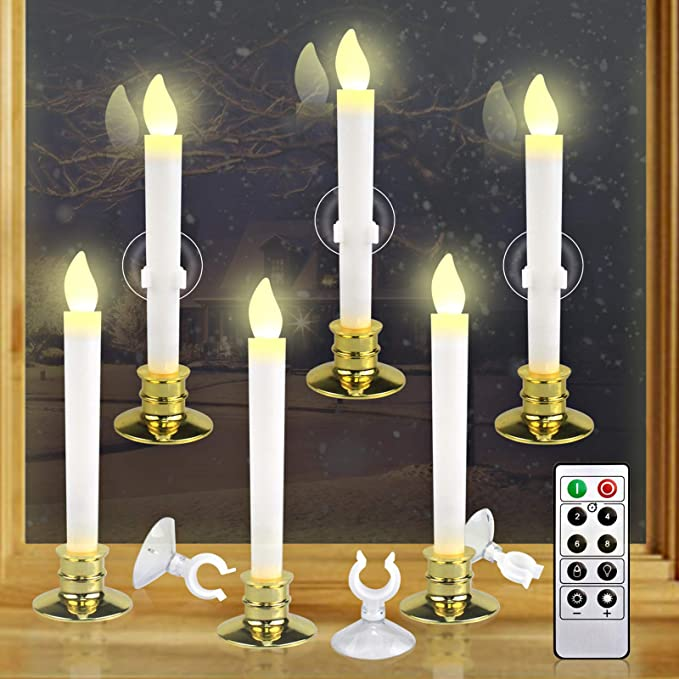 Amazon.com: Kithouse 6 Set Christmas Window Candles Lights with Timer Battery Operated Electric LED Taper Candles Flameless for Windows, Gold Candle Holders, Suction Cups & 12 PCS Battery Included: Home Improvement