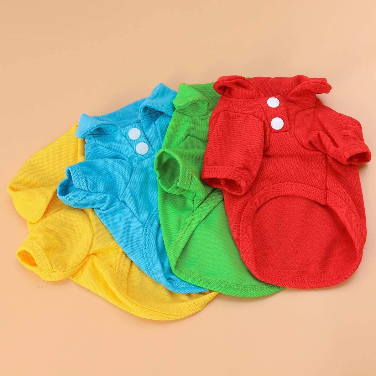 POPETPOP Ropa de Polo de Camiseta de Algod/ón Colores de Verano para Mascotas Gatos Perros Peque/ños Mediano Grande 4pcs Talla S Rojo Azul Amarillo Verde