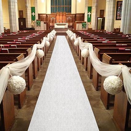 Amazon healon wedding aisle runner 100 x 3 ft white aisle healon wedding aisle runner 100 x 3 ft white aisle runner with print aisle runner for junglespirit Choice Image