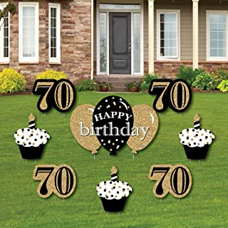 product image for Big Dot of Happiness Adult 70th Birthday - Gold - Yard Sign and Outdoor Lawn Decorations - Happy Birthday Party Yard Signs - Set of 8