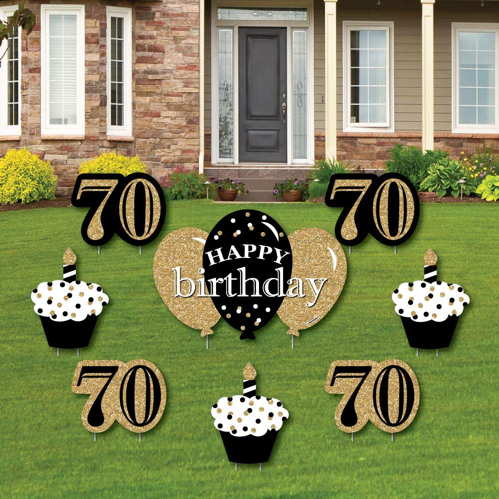 Adult 70th Birthday - Gold - Yard Sign & Outdoor Lawn Decorations - Birthday Party Yard Signs - Set of 8