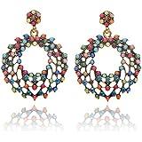 Jiayiqi Mujeres Bohemia Granos Multicolor Redonda Pendientes De Gota De Cristal Mariposa