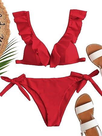 DIDK Bikini Mujer 2020, Set de Bikini Rojo Volante Traje de baño