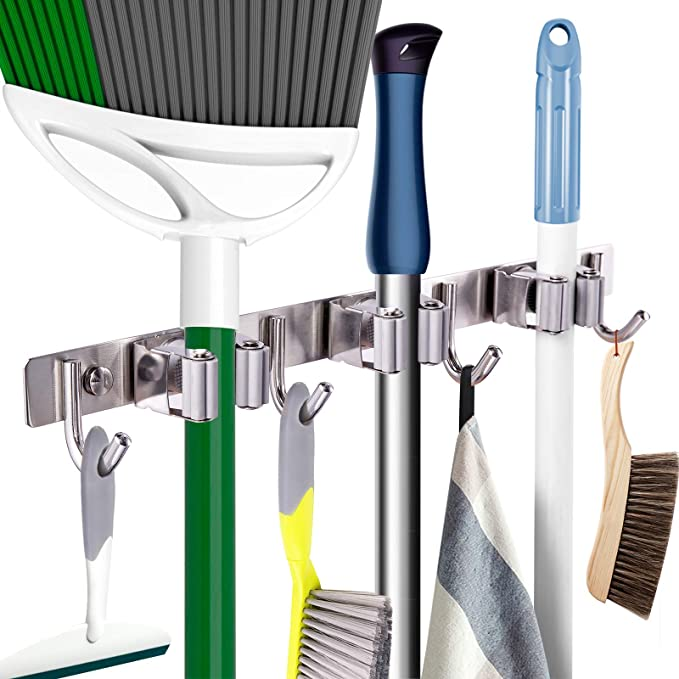 black, gray Black Hanging Organizer Mop and Broom Storage Tool Holder with 5 Ball Slots and 6 Hooks Storage Solution for Broom Holder 2 Pack Mop and Broom Holder Garage Storage System