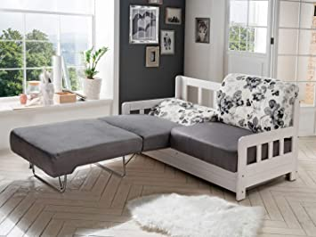 Moebella Schlafsofa Campuso Weiss Grau Blumen Design Stoff Sofa Couch