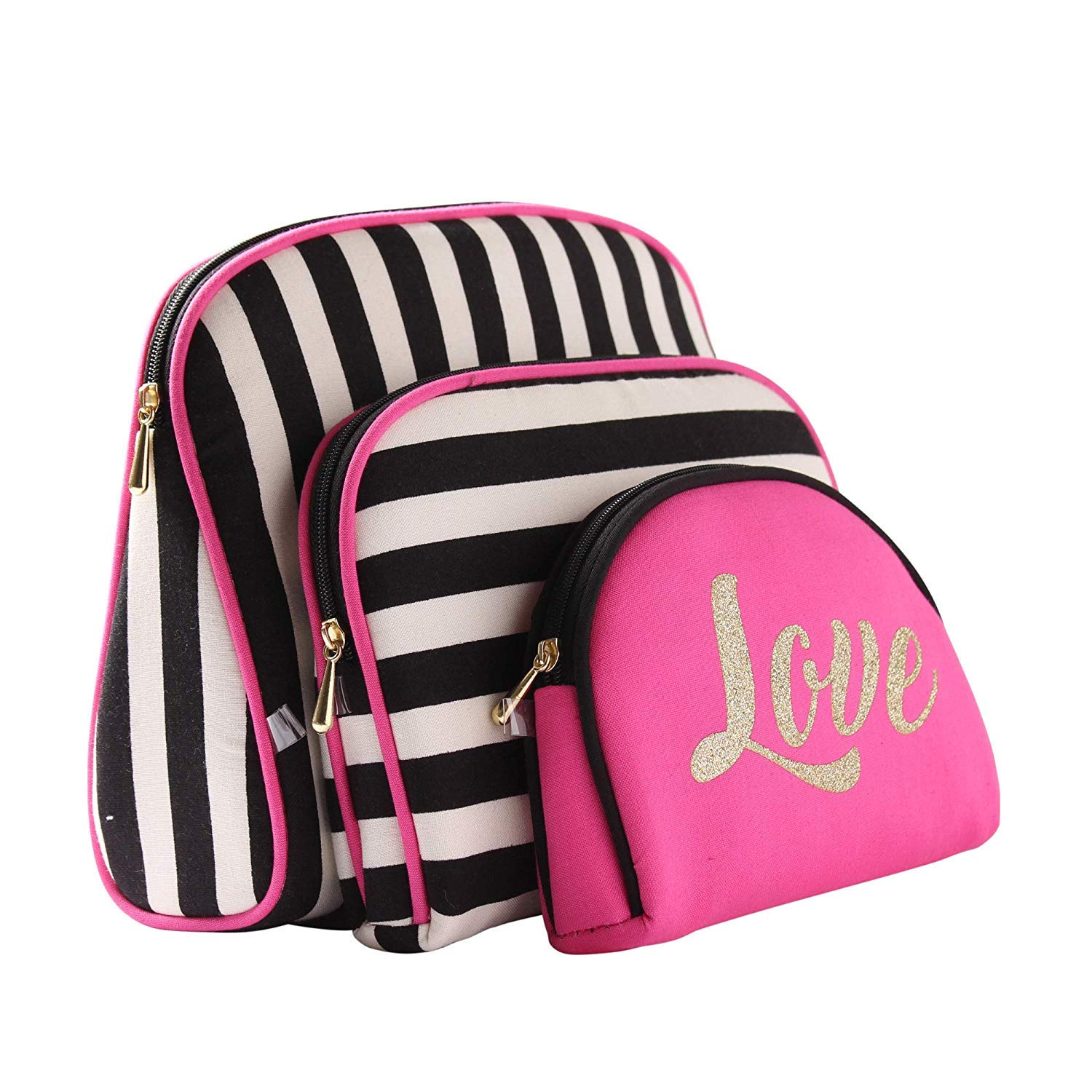 CASTEL Once Upon A Rose Cosmetic Bag 3 Piece Set, Makeup Organizer, Toiletry Pouch, for Brushes, Pencil Case, Accessories, Travel, Girls, Gift Idea (Love & Stripes)