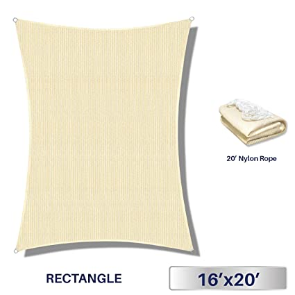 Amazon.com  Windscreen4less 16u0027 x 20u0027 Sun Shade Sail Rectangle Canopy in Begie with Commercial Grade (3 Year Warranty) Customized Sizes Available  Garden ...  sc 1 st  Amazon.com & Amazon.com : Windscreen4less 16u0027 x 20u0027 Sun Shade Sail Rectangle ...