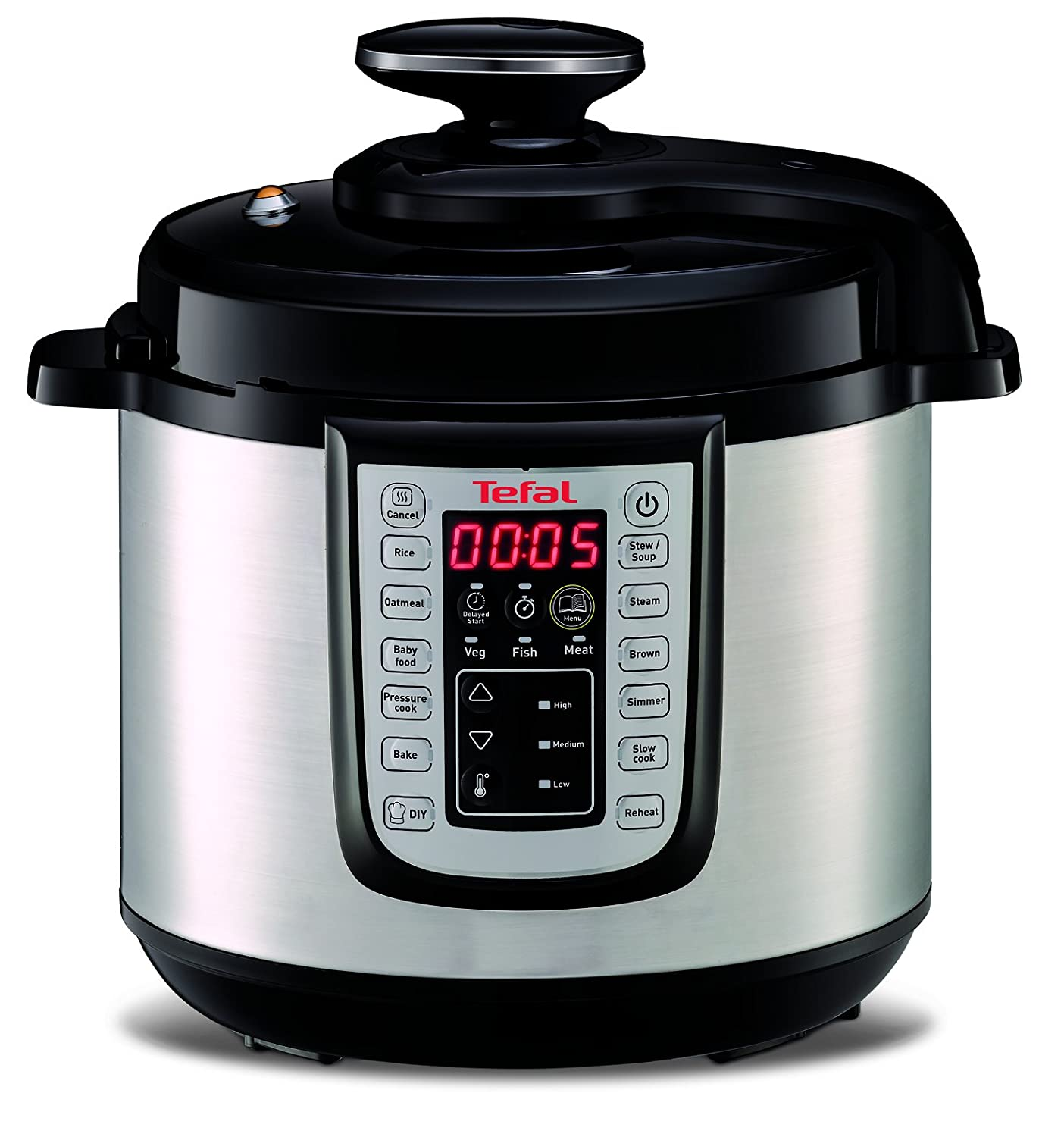 Tefal CY505E40 All-in-One CY505E40 Electric Pressure/Multi Cooker, Black/Stainless Steel