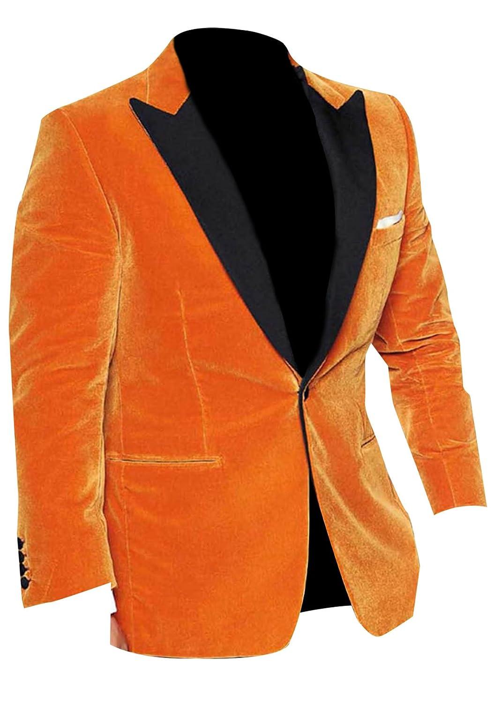 LP-FACON Mens Eggsy Orange Golden Circle Velvet Blazer Tuxedo Coat