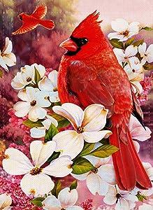 Artofy Home Decorative Red Cardinal Flower Small Garden Flag Dogwood Double Sided, Floral Welcome Burlap Birds Outside House Yard Decoration, Seasonal Outdoor Décor Flag 12.5 x 18 Spring Summer