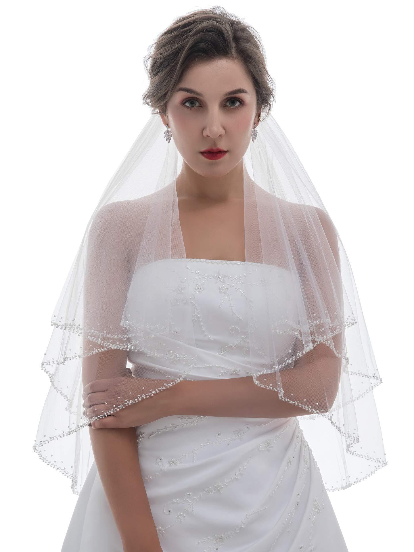 2T 2 Tier Pearl Bugle Beaded Wedding Veil V360 - White Fingertip Length 36'' by SAMKY