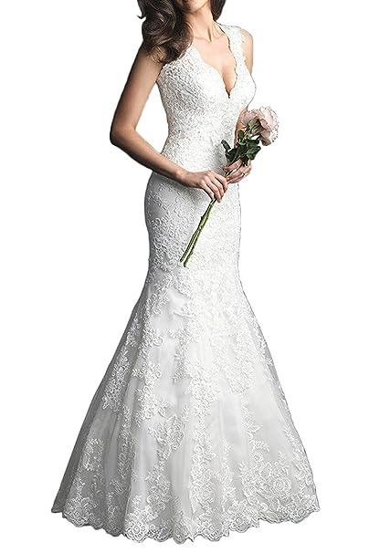 VIPbridal Elegante vestido de novia de encaje vestido de cuello V Mermaid Backless: Amazon.es: Ropa y accesorios
