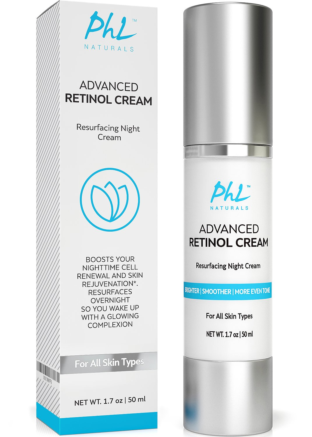 Retinol Cream Moisturizer for Face - with Hyaluronic Acid + Vitamin C & E - Anti Aging formula for Neck and Eye Area |Reduces Fine Lines, Wrinkles, Acne & Age spots. 1.7 fl.oz.