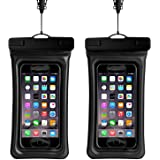 TERSELY Universal Waterproof Case, (2 Pack) Cellphone Dry Bag Pouch Cover for iPhone 11 Pro Max/XS Max/XR, Samsung S10Plus/S10/Note 10/Plus, etc. up to 6.5-Inch Support Finger Print Unlock - Black