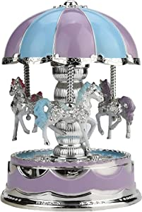 SANGKN Carousel Music Box, Christmas Horse Decor for Girls Room Music Boxes Granddaughters Musical Box Small Baby Daughter Kids Toddler Tiny Personalized The Music Box Kids Musicbox(Blue)