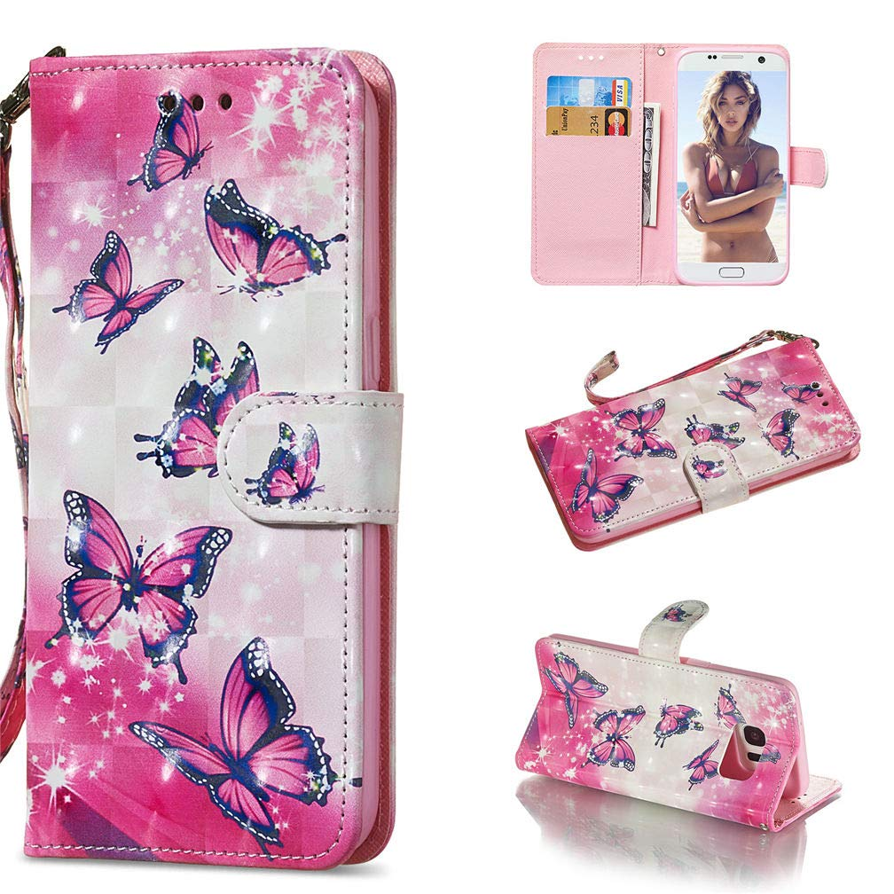 3D Painted Wallet Cover Case for Galaxy S7 Edge; PU Leather Case Beautiful Wrist Strap Stand Protective Cover Samsung Galaxy S7 Edge G935F G935 5.5 inches Smartphone - Butterfly Rose