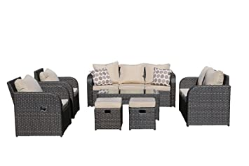 Yakoe 9 Seater Rattan Garden Furniture Set Sofa Reclining Chairs Conservatory Outdoor - Brown  sc 1 st  Amazon UK & Yakoe 9 Seater Rattan Garden Furniture Set Sofa Reclining Chairs ... islam-shia.org