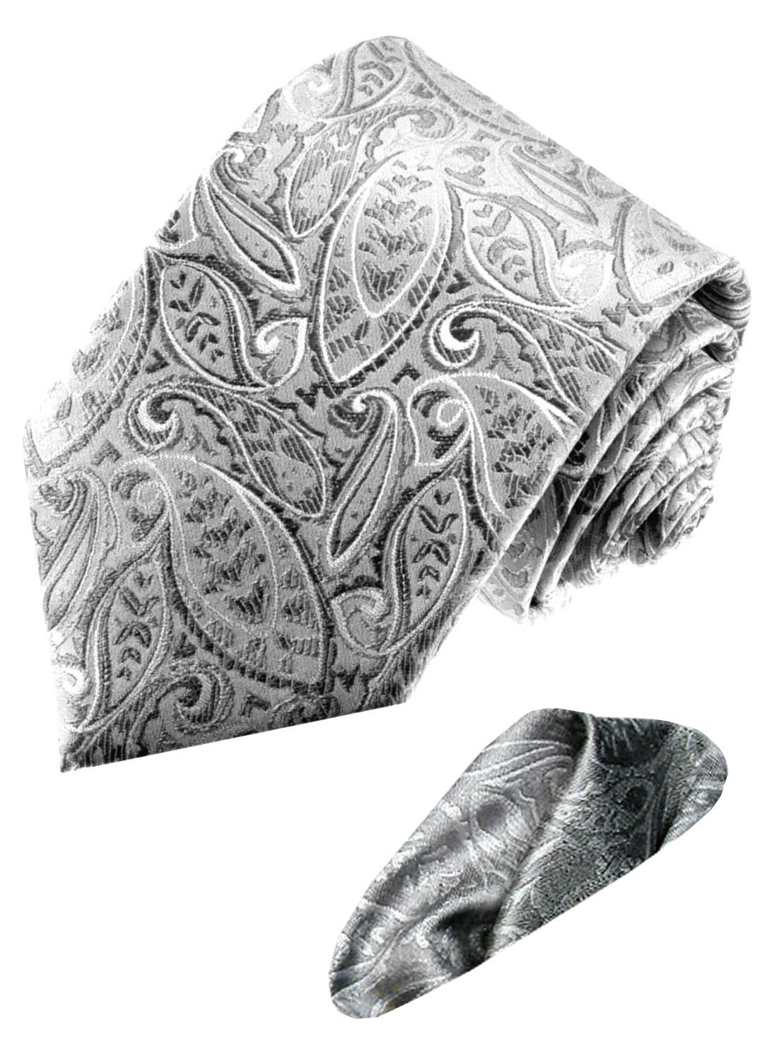 LORENZO CANA Italy Pure Silk Business Neck Tie Hanky Set Silver Paisley 8445901