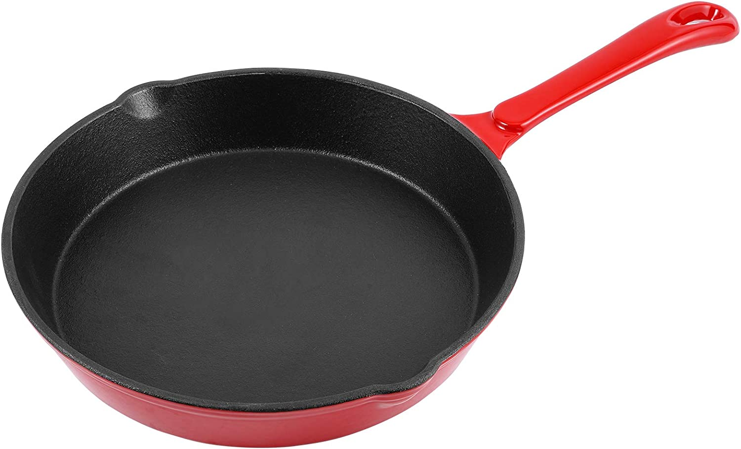 Enameled Cast Iron Skillet Chef's Classic 10 Inch Round Fry Pan for Kitchen, Camping Indoor and Outdoor Cooking, Frying, Searing and Baking (Cherry Red)