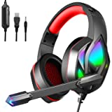 MuGo Gaming Headset for PC Xbox One, Over Ear Headphones with Color Changing LED Light, Gaming Headphones for PS4 PS5 Laptop