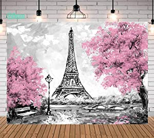 Qian 9x6 FT Pink Flowers Trees Eiffel Tower Background Photography Gray Paris Photo Studio Props Banner Wedding Theme Party Backdrops Vinyl