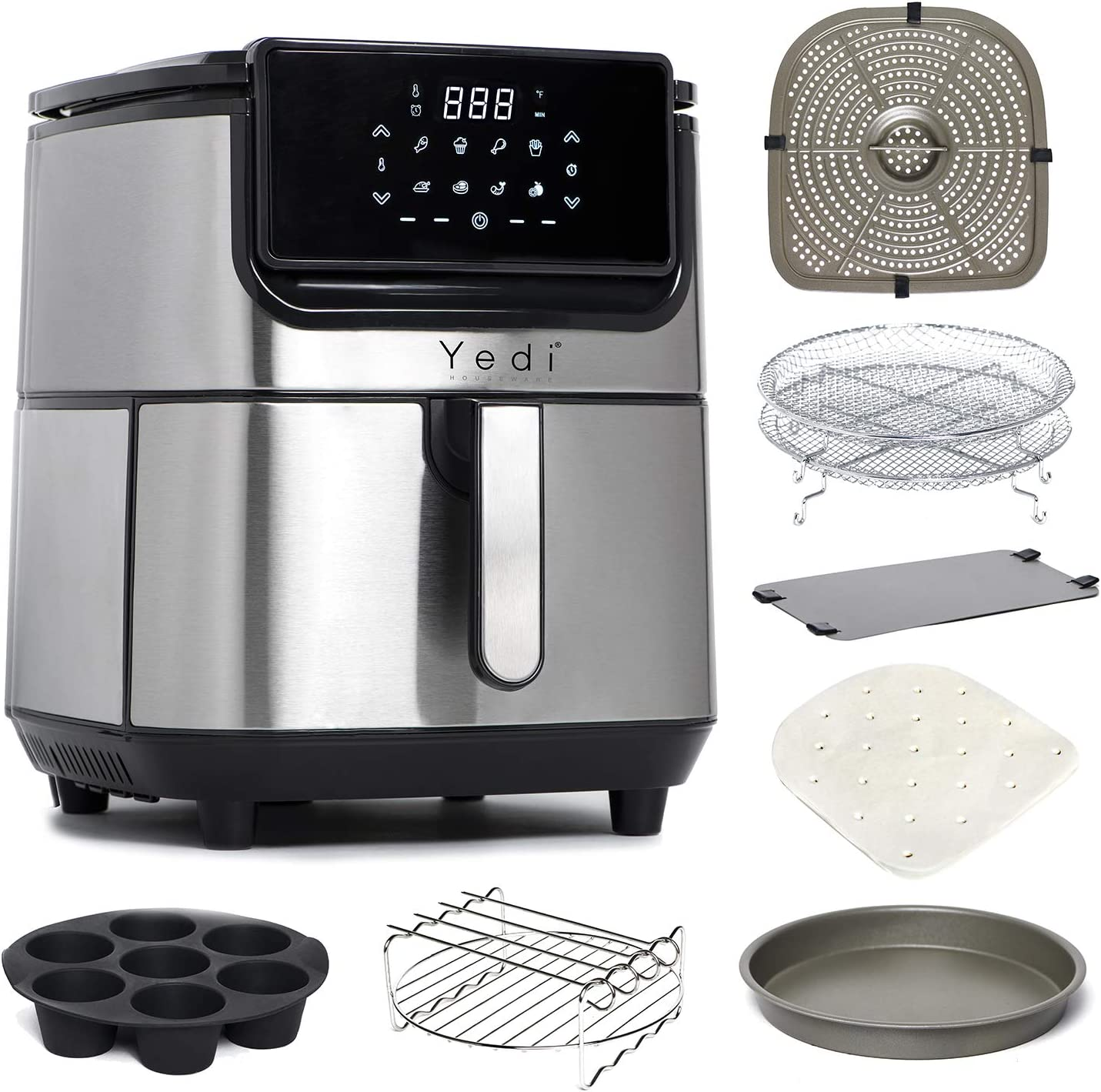 Yedi Evolution Air Fryer, 6.8 Quart, Stainless Steel, Ceramic Cooking Basket, with Deluxe Accessory Kit and Recipe Book
