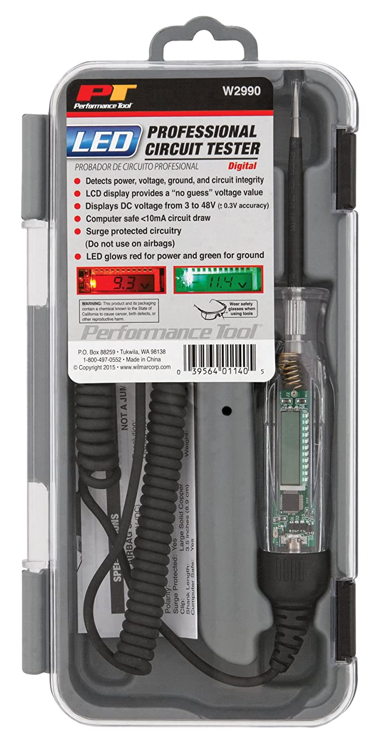 Performance Tool W2992 Computer Safe Lcd Digital Circuit Wiring Tester 3 To 48 Volt Automotive
