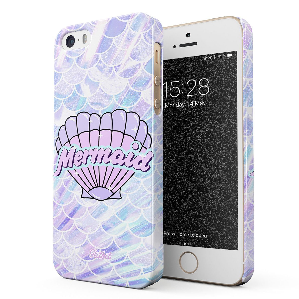 Glitbit Compatible with iPhone 5 / 5s / SE Case Mermaid Seashell Paua Abalone of The Ocean Sea Holographic Pastel Pink Purple Aesthetic Thin Design Durable Hard Shell Plastic Protective Case Cover by Glitbit