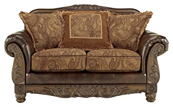 Enjoyable Ashley Furniture Signature Design Fresco Loveseat With 3 Pillows Ornate Frame Grand Elegance Antique Brown Gmtry Best Dining Table And Chair Ideas Images Gmtryco