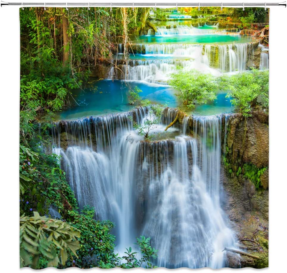 XZMAN Forest Waterfall Shower Curtain Nature Rainforest Green Tree Spring Landscape Seasonal Polyester Bathroom Decor Set 70 x 70 Inches Include Hooks