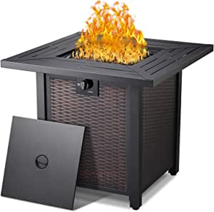 NAVINE Square Outdoor Gas Propane Fire Pit Pits Firepit Fireplace Dinning Table Tables with Lid Lava Stone 50000BTU ETL Certification for Garden Backyard Deck Patio (Classic Look)