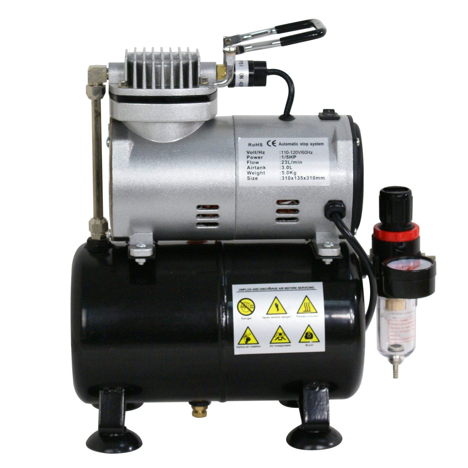 ZENY Pro 1//5 HP Airbrush Air Compressor Kit w// 3L Tank /& 6FT Hose Multipurpose for Hobby Paint Cake Tattoo
