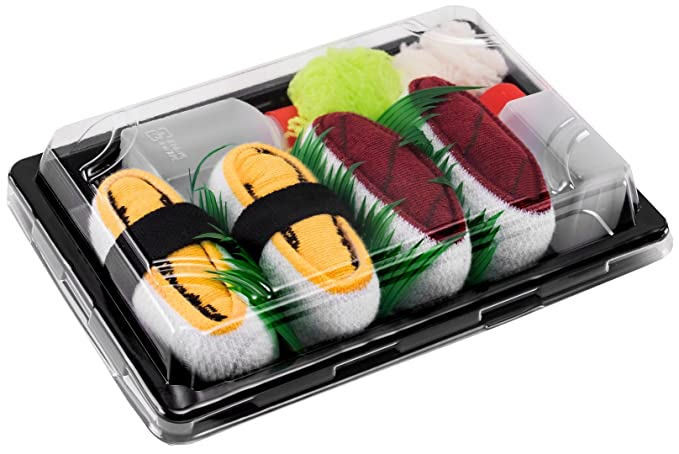 Sushi Socks Box - 2 pares de CALCETINES: Nigiri Atún Tamago - REGALO DIVERTIDO,