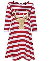 Styleword Women's Three Quarter Sleeve Christmas Dress Stripe Elk Casual Dress