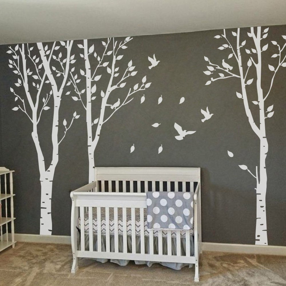 MairGwall Set of 3 Birch Trees with Flying Birds Wall Stickers - Beautiful Tree Wall Decal Vinyl Wall Art Decor for Nursery Kids Rooms Bedroom Living Room by MairGwall